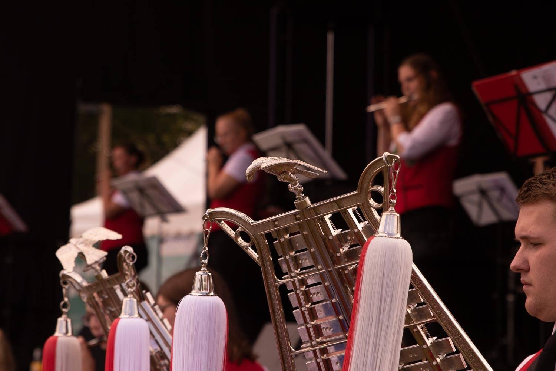 Blasorchester Everswinkel auf den Kulturwiesen 2020 beim ersten Wettendorfer Picknick. Fotograf: Andreas Hasenkamp, www.fotograf-muensterland.de