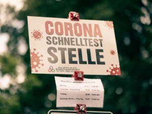 Die Corona-Schnelltest-Stelle am Brandhoveweg in Münster-Wolbeck. Foto:: A. Hasenkamp.