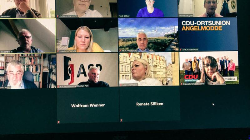 Screenshot vom Stammtisch der CDU Angelmodde  am 21.4.2021 zum Thema Gastronomie und Kultur