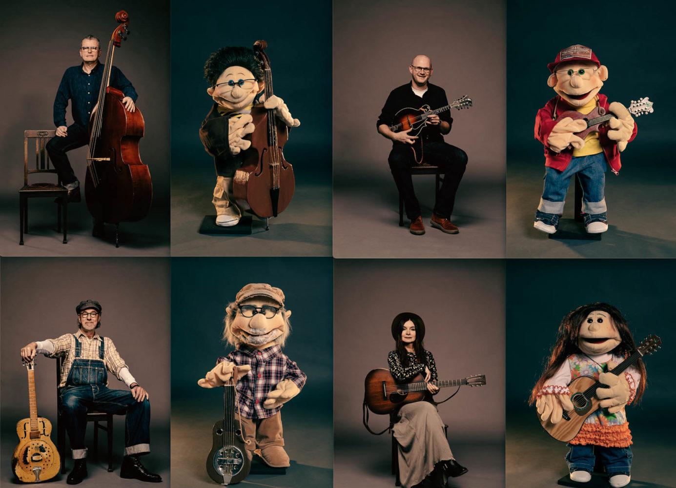 Gruppenbild mit Puppen: Die Doppelgänger der Tree Mountain Stringband können auch in Corona-Zeiten gemeinsam musizieren. Foto: Lalieproduktion.