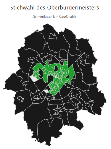 Verteilung der Mehrheits-Stimmergebnisse in Münster bei den OB-Wahlen 2020: grüne Mehrheit im Zentrum, schwarze in allen Außenbezirken.