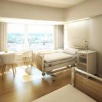 So wird ein Patientenzimmer nach der Innensanierung im Zentralklinikum aussehen. (Abb. wörner traxler richter)