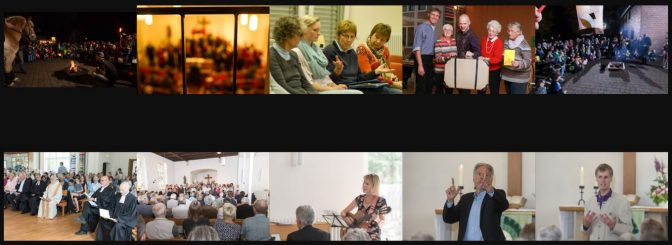 Die Friedenskirche in Angelmode-Gremmendorf: Collage von Fotos aus Gottesdienst, Konzert, Gesprächen