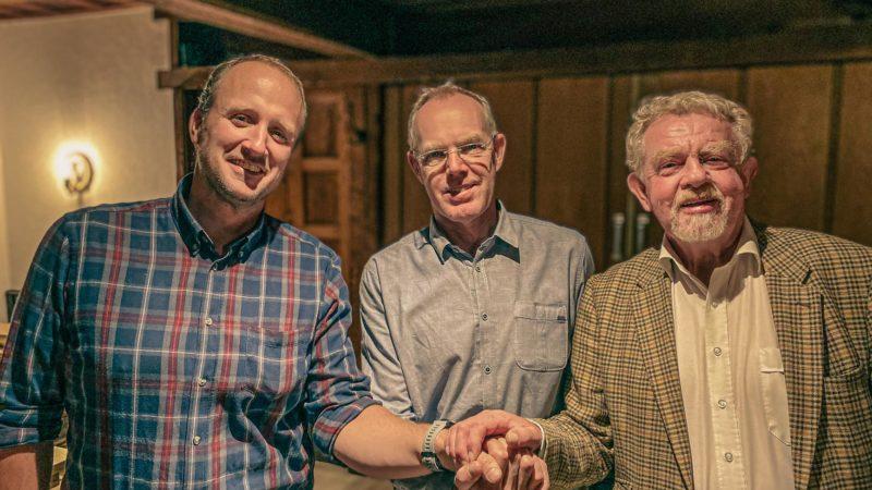 Der neue Geschäftsfüher Dr. Philipp Feldhaus mit Präsident Bernhard Homann-Niehoff und Engelbert Honkomp. Foto: privat.