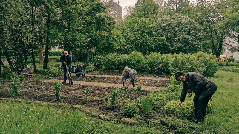"""Seit über zwölf Jahren wird der Anwohnerpark """"Grünschleife"""" mitten in Kinderhaus von Bürgerinnen und Bürgern aus dem Quartier in Zusammenarbeit mit dem städtischen Grünflächenamt gepflegt und gestaltet."""