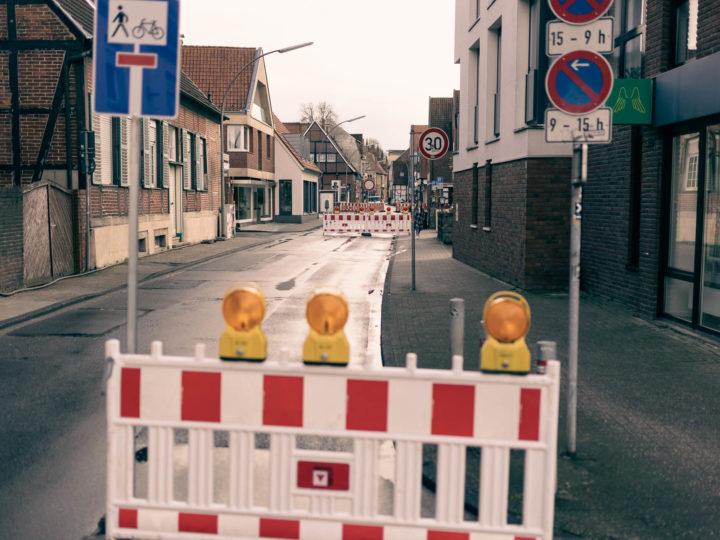 Baustelle in Wolbeck zwischen Hofstraße und Dirk-von-Merveldt-Straße. Foto: A. Hasenkamp.
