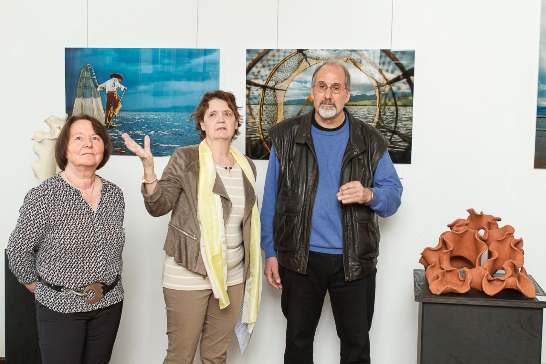 Anne Berlin, Uschi Dillmann und Wil Alberz im Gallitzinhaus bei der Vernissage zur Ausstellung 2017. Foto: a. Hasenkamp.