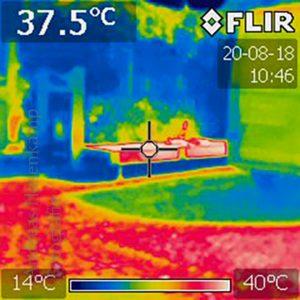Wärmebild zeigt Abkühlung durch Begrünung.