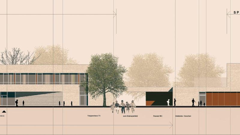 Eine moderne Grundschule für Sprakel wird im Neubaugebiet nördlich der Landwehr entstehen. Schulgebäude und Sporthalle verbindet ein überdachter Trakt. Foto: ReindersArchitekten BDA.