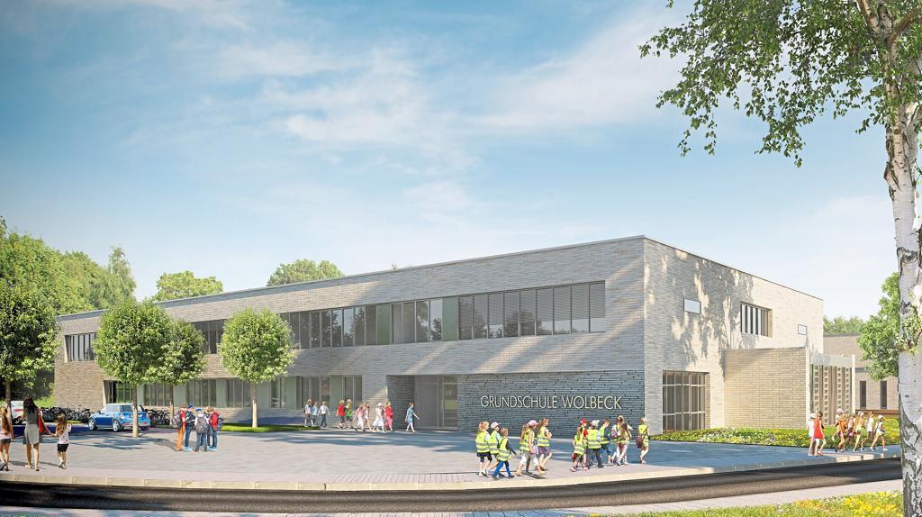 Architektenentwurf des Hauptgebäudes der im Bau befindlichen neuen Grundschule in Münster-Wolbecks Norden