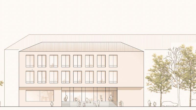 Visualisierung: Über eine breite Freitreppe geht es vom Neubau aus auf den Schulhof: So wird die Erweiterung der Hermannschule am Dahlweg künftig aussehen. Visualisierung: Wannenmacher und Möller GmbH.