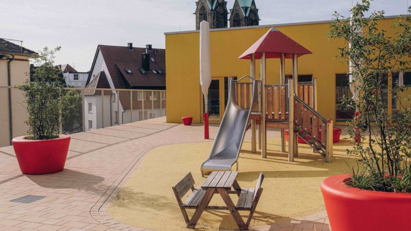 Die neue Kita Burgstraße steht auf der Nominierten-Liste mit 25 Einrichtungen für den Deutschen Kita-Preis 2022. Foto: Stadt Münster / Meike Reiners.