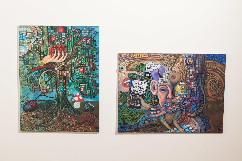 """Exponate von Marc Czyzewski aus Greifswald in der Ausstellung """"In der Meeresweite meiner Seele ..."""" im Kunsthaus Kannen im Oktober 2020. Foto: A. Hasenkamp, Fotograf in Münster."""