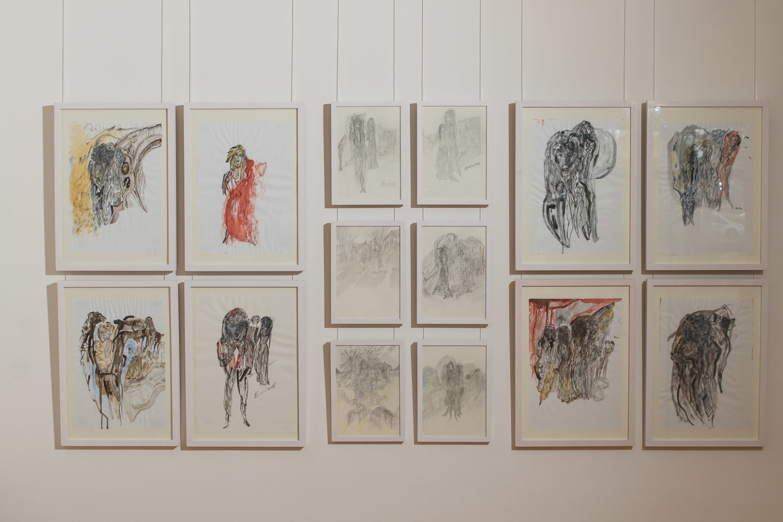 """Exponate von Jürgen Essing aus Salzgitter in der Ausstellung """"In der Meeresweite meiner Seele ..."""" im Kunsthaus Kannen im Oktober 2020. Foto: A. Hasenkamp, Fotograf in Münster."""