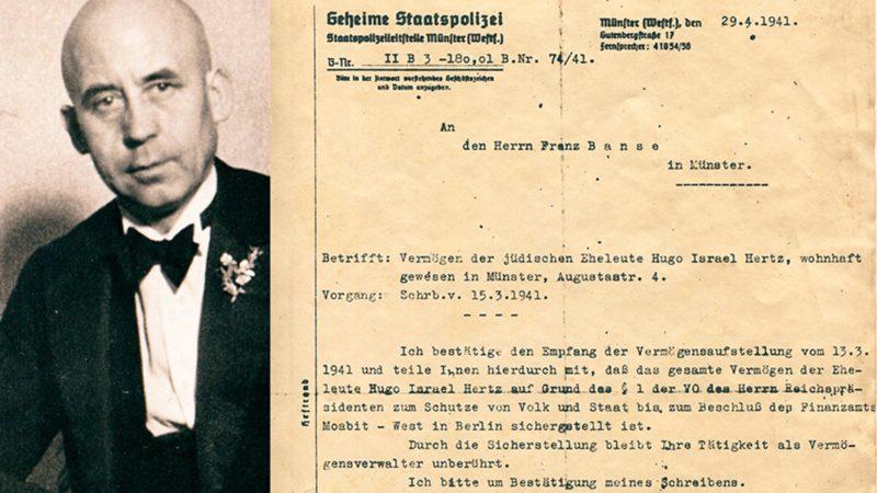 Franz Branse im Jahr 1948 und ein Schreiben der Gestapo an Branse aus dem Jahr 1941. Fotos: Privat. Montage: Stadtarchiv Münster.