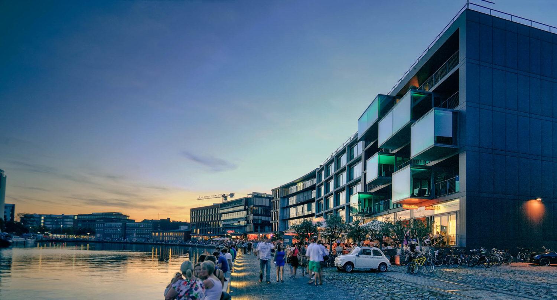 Münsters urbane Seite am Wasser: Der Stadthafen. Foto: Klaus Altevogt.
