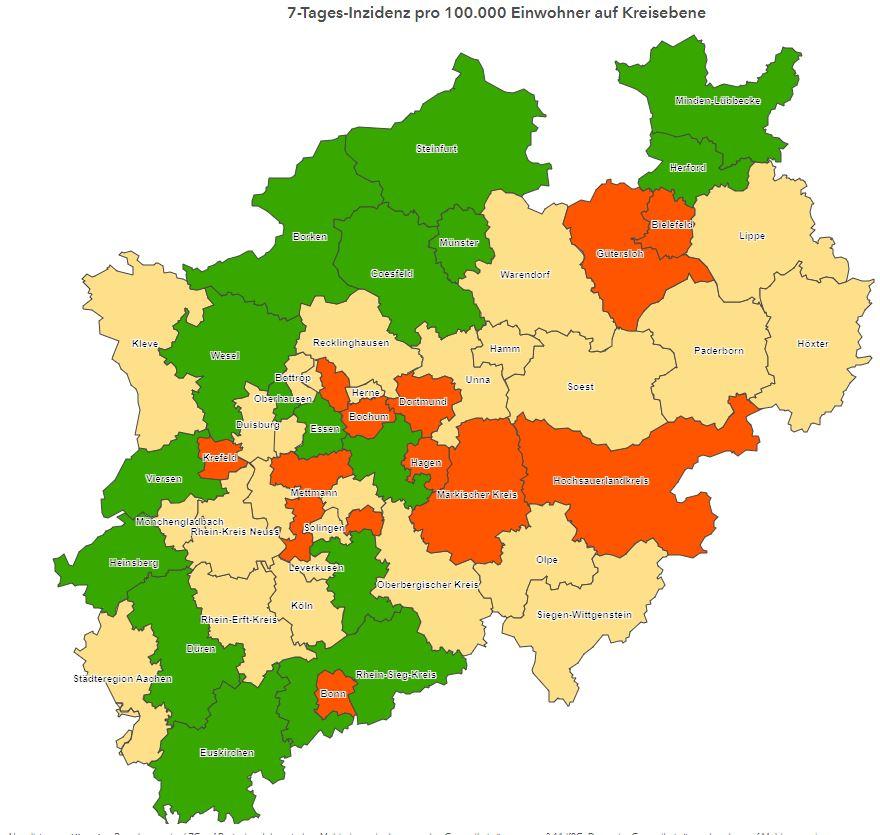 Karte mit Inzidenzen in NRW - Ampelfärbung