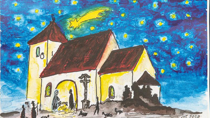 Puzzle-Bild von Thomas Schulz: Nachempfunden der Form von St. Agatha, mit dem Kreuz am Grab der Gräfin Gallitzin - hier treffen gerade die Hirten an der Zuflucht der heiligen Familie ein.