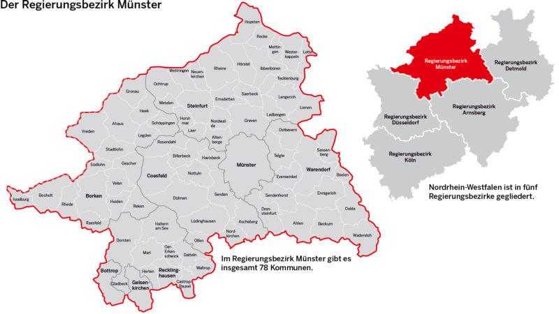 Karte des Regierungsbezirks Münster mit seinem 78 Kommunen. Quelle: Bezirksregierung.