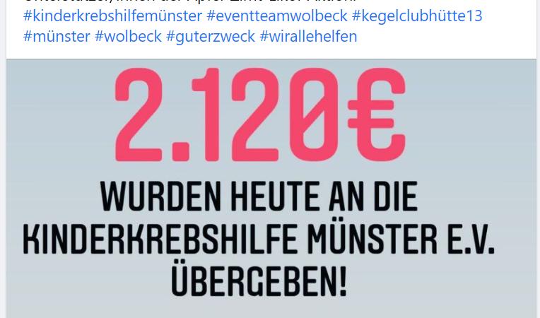 Spendenübergabe an die Kinderkebshilfe Münster vom Weihnachtsmarkt to go aus Wolbeck