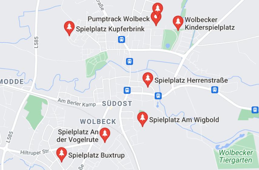 Spielpätze in Münster-Wolbeck - Karte