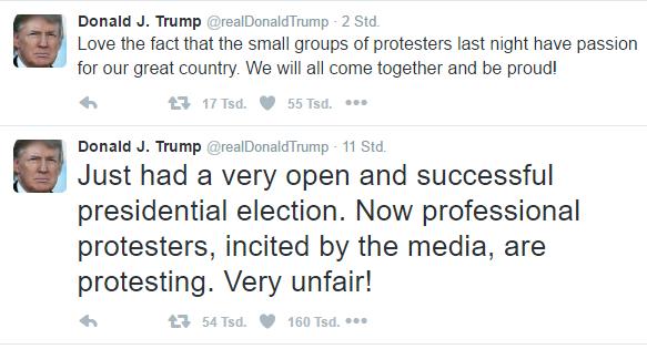 Twitter-Post Trump vom 11.11.2016 zu Demonstrationen vom 10.11.2016