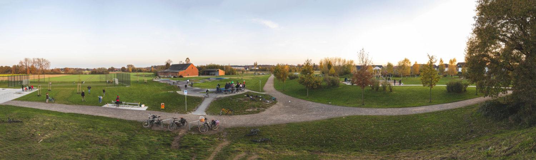 Panorama-Bild eines Teils des Spielplatzes Wolbeck-Nord am Krekenbeck-Weg. Foto: A. Hasenkamp