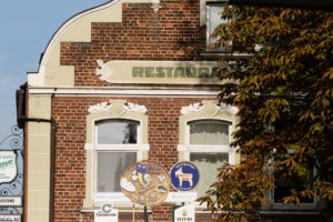 Giebel des Restaurants Sültemeyer im Herzen von Wolbeck. Foto: A. Hasenkamp.