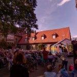 Konzert im Hof des Drostenhofs in Mnster-Wolbeck: Trompetenbaum und Geigenfeige